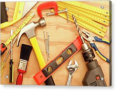 Tools Arrangement Acrylic Print by Les Cunliffe