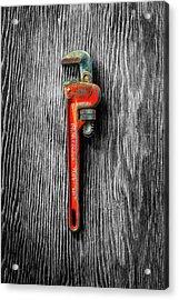 Tools On Wood 62 On Bw Acrylic Print by YoPedro