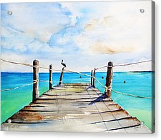 Top Of Old Pier On Playa Paraiso Acrylic Print
