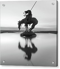 Acrylic Print featuring the photograph Top Of The Rock Native American Statue Silhouette Reflections Bw by Gregory Ballos
