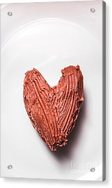 Top View Of Heart Shaped Chocolate Fudge Acrylic Print by Jorgo Photography - Wall Art Gallery