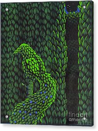 Acrylic Print featuring the drawing Topiary Peacock by Donna Huntriss