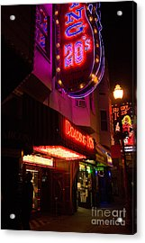 Topless Bar Signs At Night In North Beach San Francisco Acrylic Print by Jason Rosette