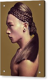 Topless Man In Braided Hair  Acrylic Print