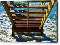 Topsail Island Ocean Steps Acrylic Print by Betsy Knapp