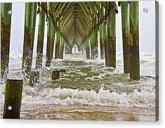 Topsail Island Pier Acrylic Print by Betsy Knapp