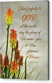 Torch Lily At The Beach And Scripture Acrylic Print by Sandi OReilly