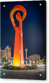 Torch Of Freedom At Dark Acrylic Print by Tod and Cynthia Grubbs
