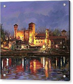 Torino-il Borgo Medioevale Di Notte Acrylic Print