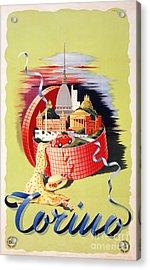 Torino Turin Italy Vintage Travel Poster Restored Acrylic Print