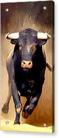 Acrylic Print featuring the painting Bull Toro Bravo by James Shepherd