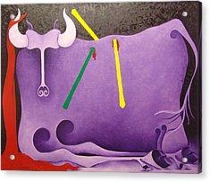 Toro Morado  1988 Acrylic Print by S A C H A -  Circulism Technique