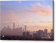 Acrylic Print featuring the photograph Toronto 2017 Warm Winter Fog by Charline Xia