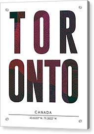 Toronto, Canada - City Name Typography - Minimalist City Posters Acrylic Print