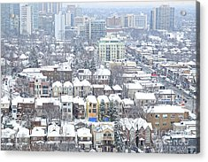 Acrylic Print featuring the photograph Toronto Midtown Fresh Snow by Charline Xia