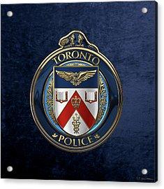 Acrylic Print featuring the digital art Toronto Police Service  -  T P S  Emblem Over Blue Velvet by Serge Averbukh