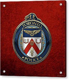 Acrylic Print featuring the digital art Toronto Police Service  -  T P S  Emblem Over Red Velvet by Serge Averbukh