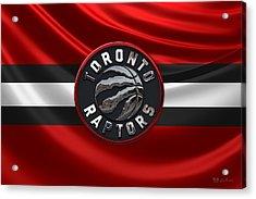 Toronto Raptors - 3 D Badge Over Flag Acrylic Print