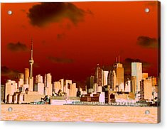 Acrylic Print featuring the photograph Toronto Red Skyline by Valentino Visentini