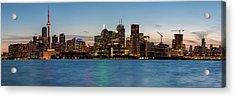 Acrylic Print featuring the photograph Toronto Skyline At Dusk Panoramic by Adam Romanowicz