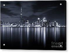 Toronto Skyline Monochrome Acrylic Print by Matt  Trimble