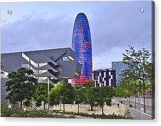 Torre Agbar Barcelona  Acrylic Print by Marek Stepan