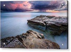 Acrylic Print featuring the photograph Torrey Pines - Flat Rock Storm by Alexander Kunz