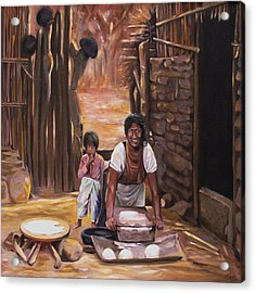 Acrylic Print featuring the painting Tortillas De Madre by Nancy Griswold