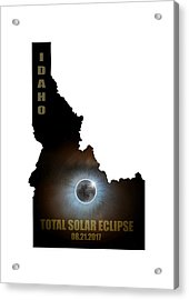Total Solar Eclipse In Idaho Map Outline Acrylic Print by David Gn