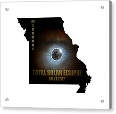 Total Solar Eclipse In Missouri Map Outline Acrylic Print by David Gn