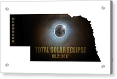 Total Solar Eclipse In Nebraska Map Outline Acrylic Print by David Gn