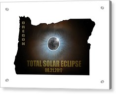 Total Solar Eclipse In Oregon Map Outline Acrylic Print by David Gn