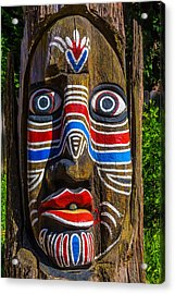 Totem Face Acrylic Print by Garry Gay