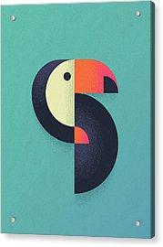 Toucan Geometric Airbrush Effect Acrylic Print