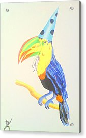 Toucan With  Party Hat Acrylic Print by Roger Golden