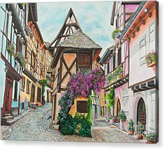 Touring In Eguisheim Acrylic Print by Charlotte Blanchard