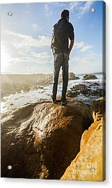 Tourist Looking At The Ocean Acrylic Print by Jorgo Photography - Wall Art Gallery