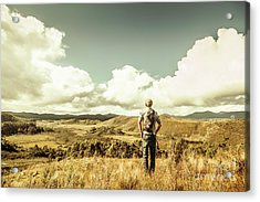 Tourist With Backpack Looking Afar On Mountains Acrylic Print