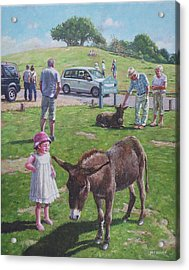Acrylic Print featuring the painting Tourists At Boltons Bench New Forest  by Martin Davey