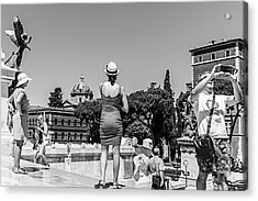 Tourists In Rome Acrylic Print by Ute Herzog