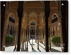 Tourists In The Courtyard In The Patio De Los Leones Area At Alhambra Acrylic Print by Sami Sarkis