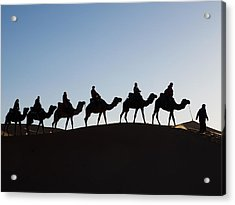 Tourists On Camels Along Top Of Erg Acrylic Print by Panoramic Images