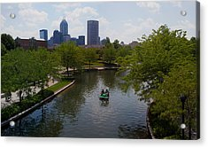 Tourists On Paddleboat In A Lake Acrylic Print by Panoramic Images