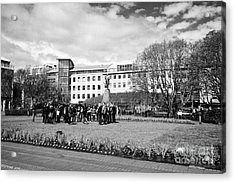 tourists on walking tour in austurvollur public square Reykjavik iceland Acrylic Print