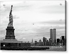 Tourists Visiting The Statue Of Liberty Acrylic Print by Sami Sarkis