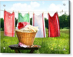 Towels Drying On The Clothesline Acrylic Print by Sandra Cunningham