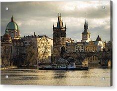 Tower And Churches Adjacent To Charles Bridge Acrylic Print by Marek Boguszak