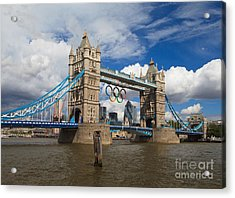 Tower Bridge And The Olympic Rings Acrylic Print