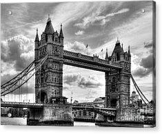 Tower Bridge In London Bw Acrylic Print by Mel Steinhauer