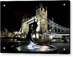 Tower Bridge With Girl And Dolphin Statue Acrylic Print